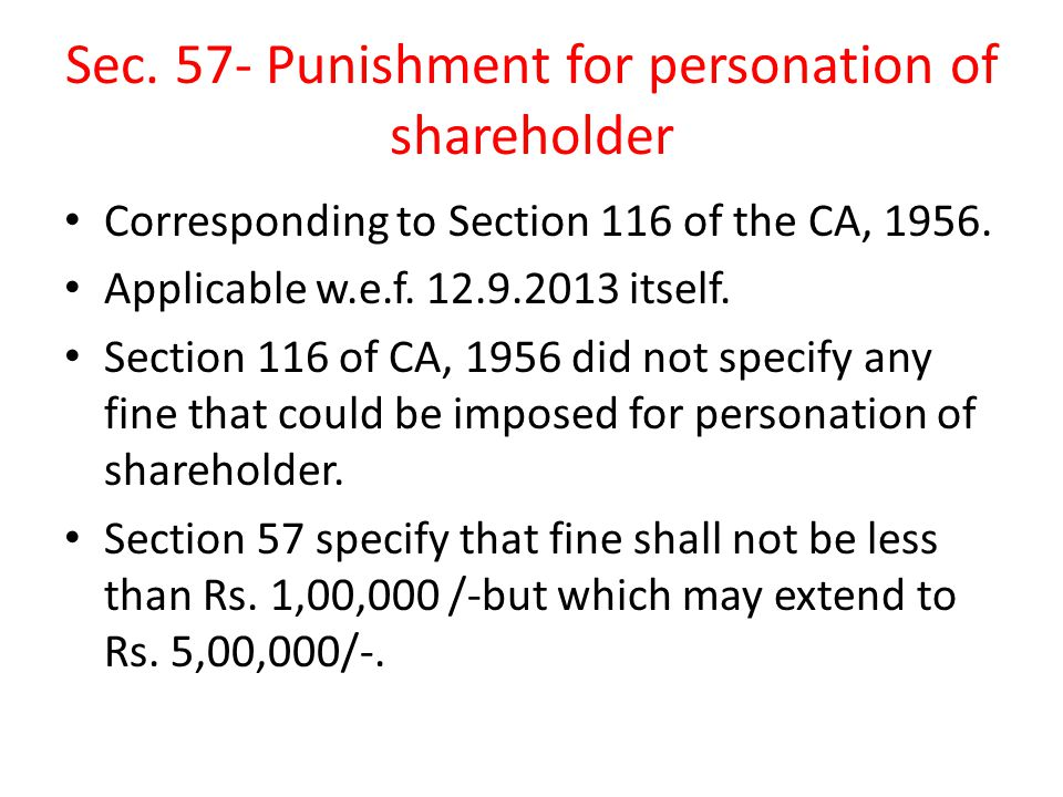 Sec. 57- Punishment for personation of shareholder