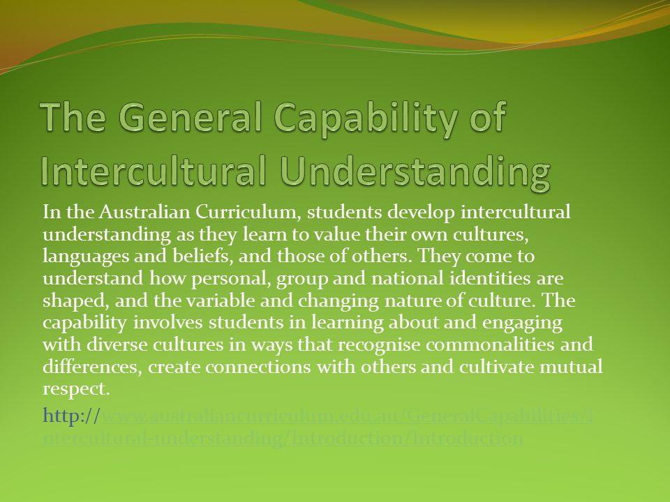 The General Capability of Intercultural Understanding