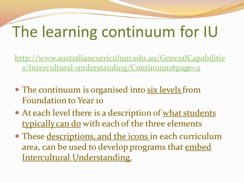 The learning continuum for IU