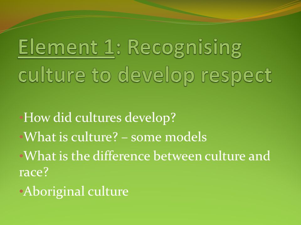 Element 1: Recognising culture to develop respect