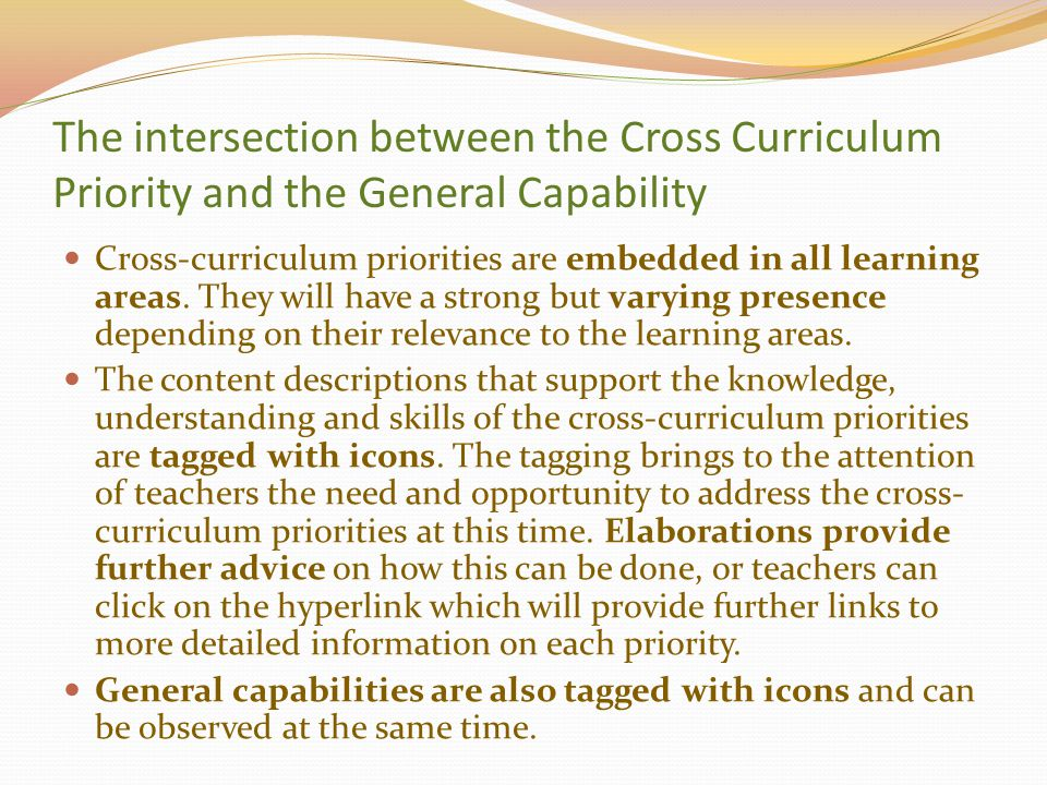 The intersection between the Cross Curriculum Priority and the General Capability