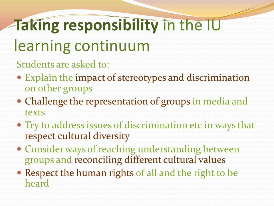 Taking responsibility in the IU learning continuum