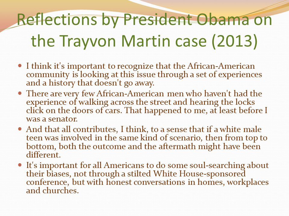 Reflections by President Obama on the Trayvon Martin case (2013)