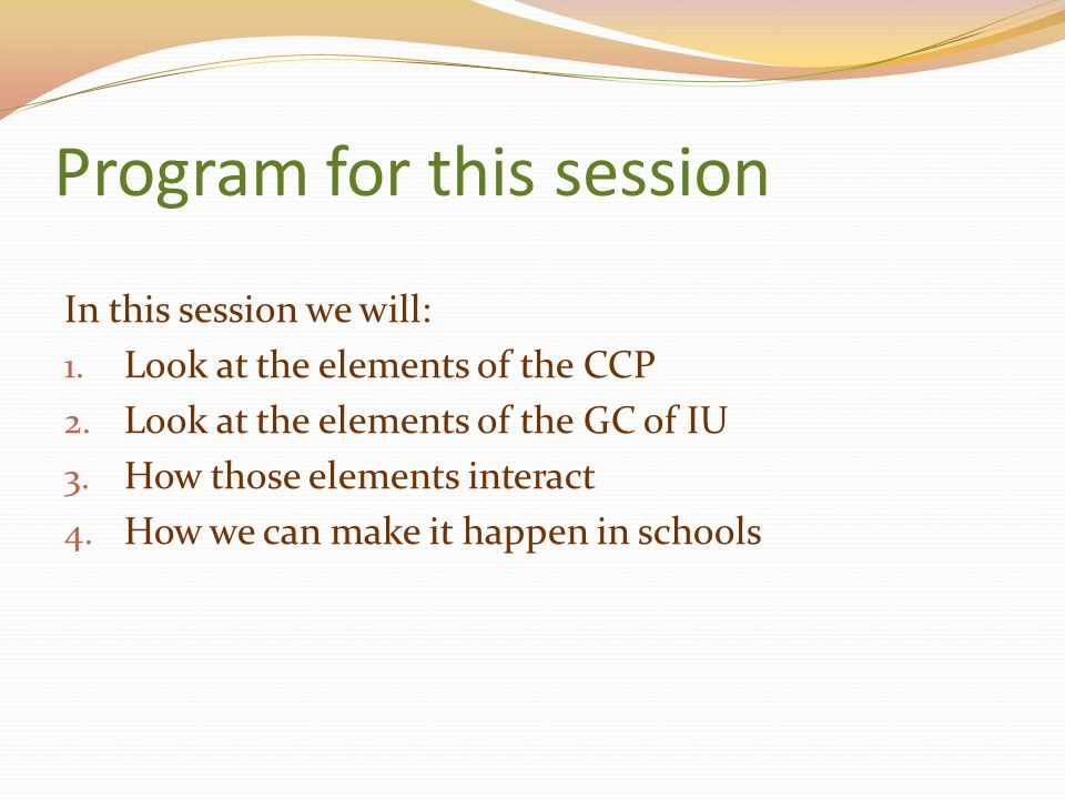 Program for this session