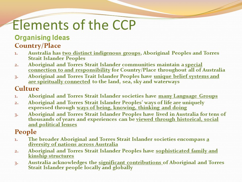 Elements of the CCP Organising Ideas Country/Place Culture People