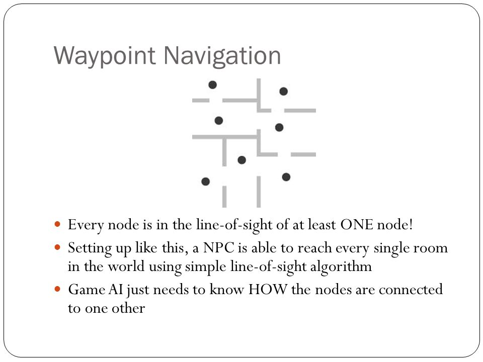 Waypoint Navigation Every node is in the line-of-sight of at least ONE node!