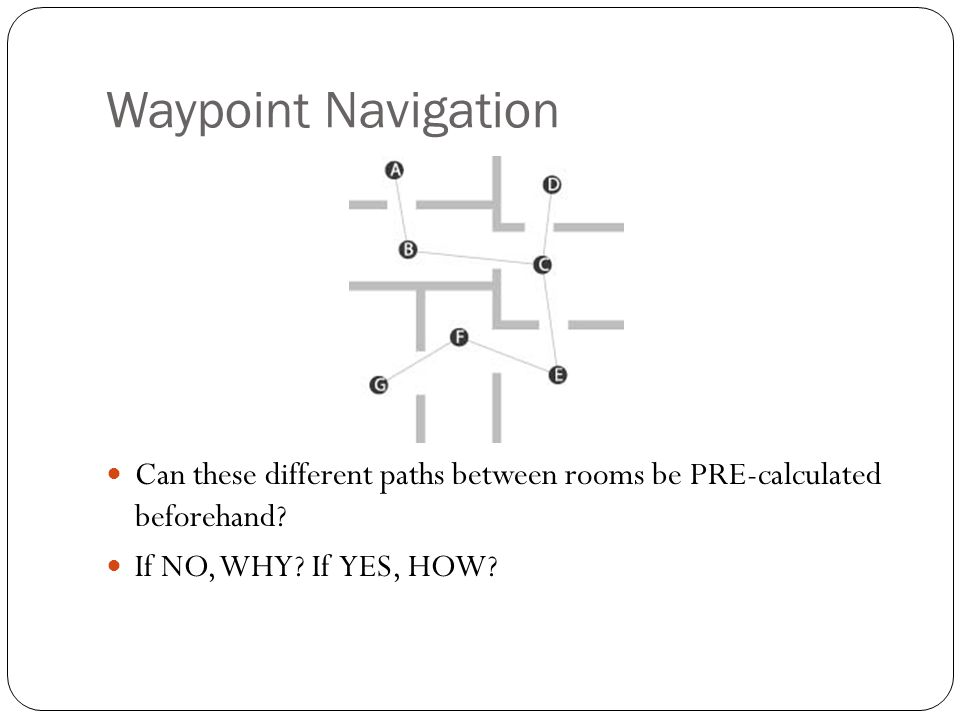 Waypoint Navigation Can these different paths between rooms be PRE-calculated beforehand.