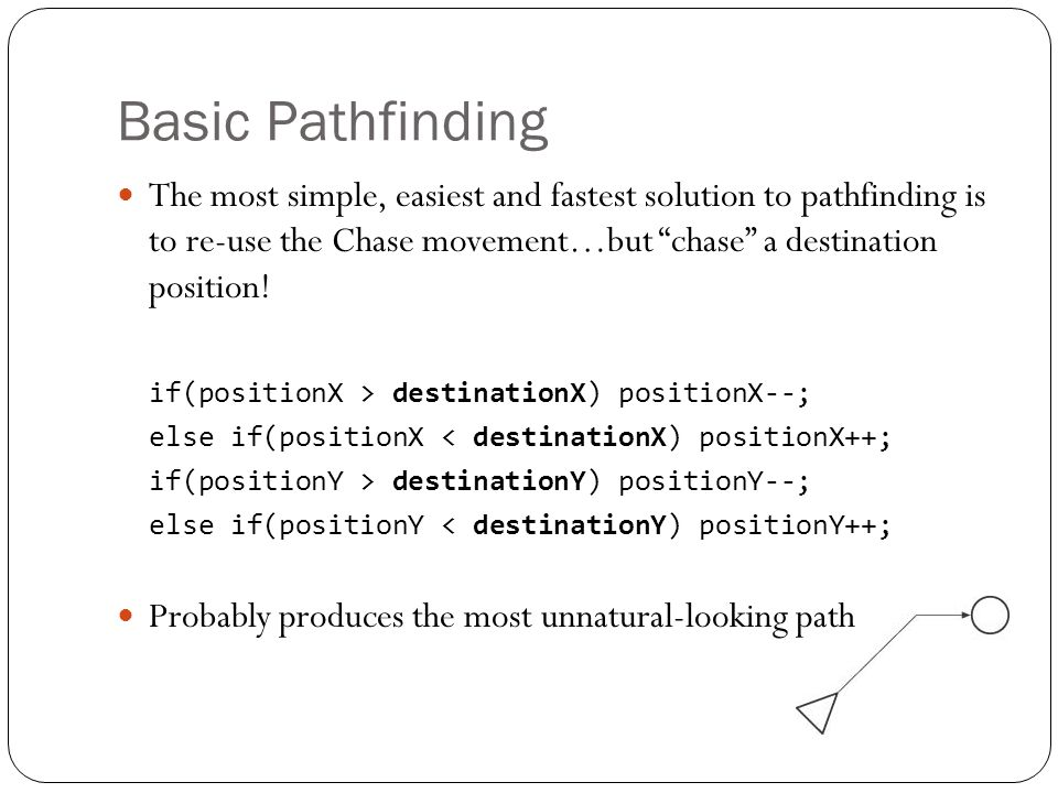 Basic Pathfinding The most simple, easiest and fastest solution to pathfinding is to re-use the Chase movement…but chase a destination position!
