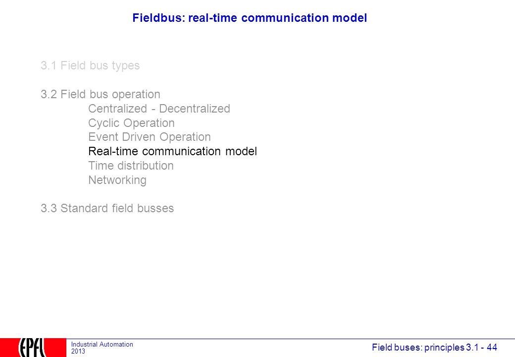 Fieldbus: real-time communication model