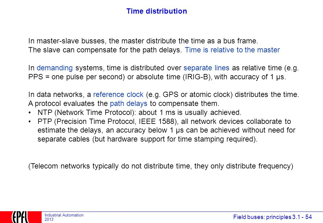 Time distribution In master-slave busses, the master distribute the time as a bus frame.