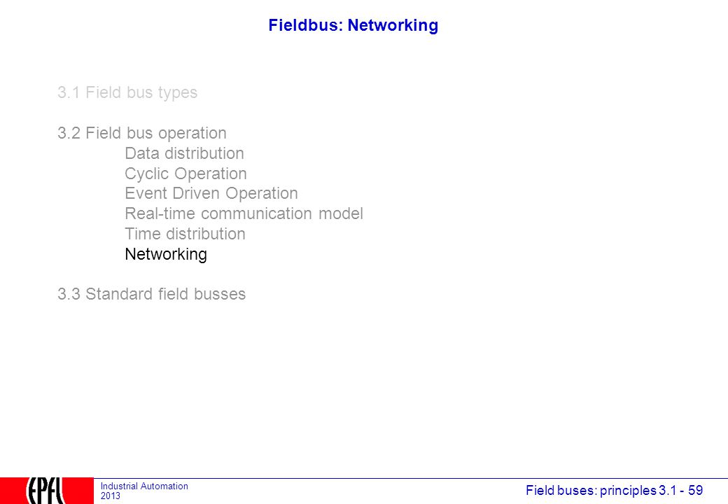 Fieldbus: Networking 3.1 Field bus types. 3.2 Field bus operation. Data distribution. Cyclic Operation.