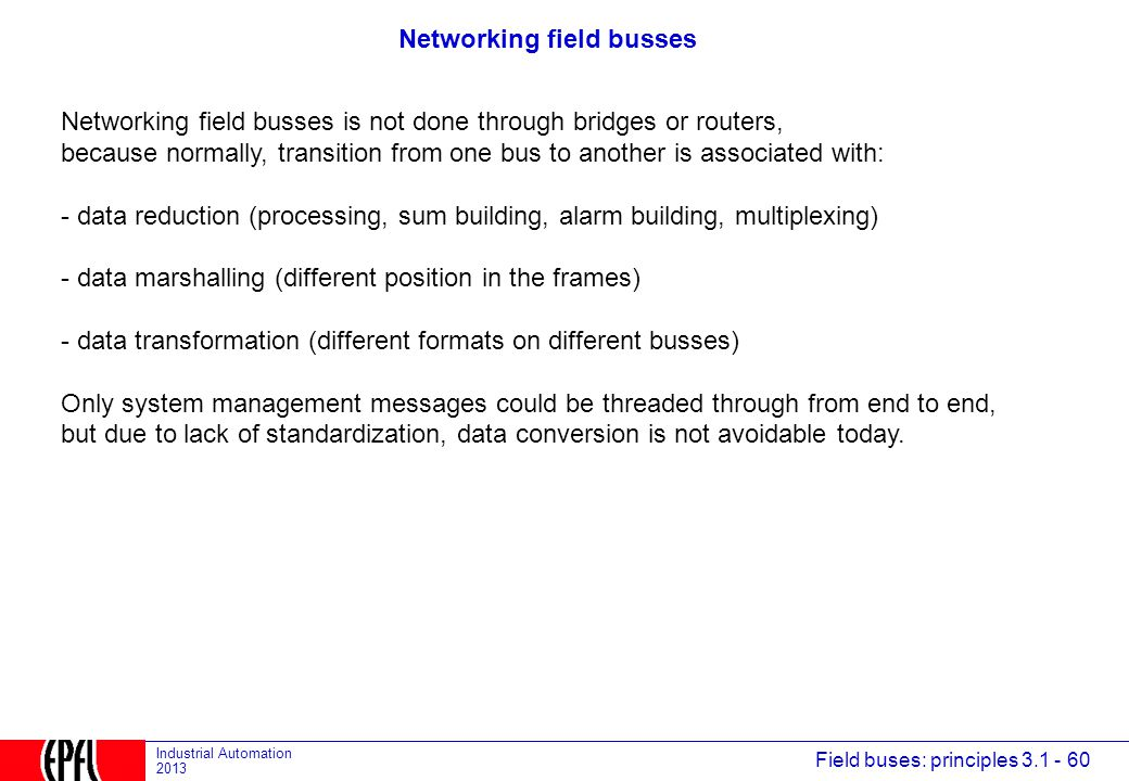 Networking field busses