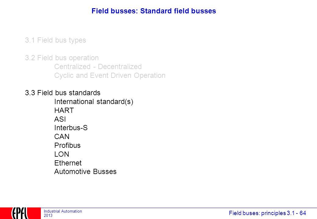 Field busses: Standard field busses
