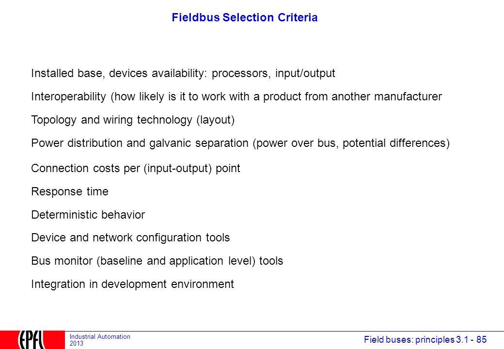 Fieldbus Selection Criteria