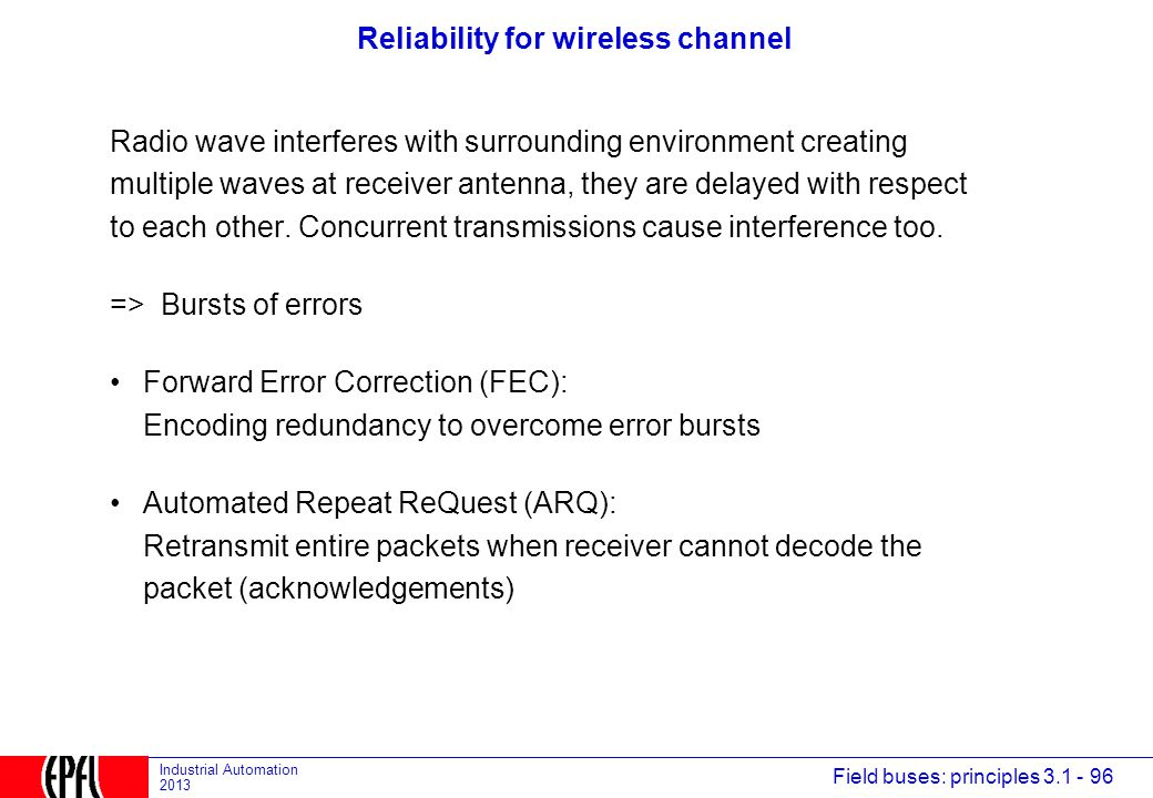 Reliability for wireless channel
