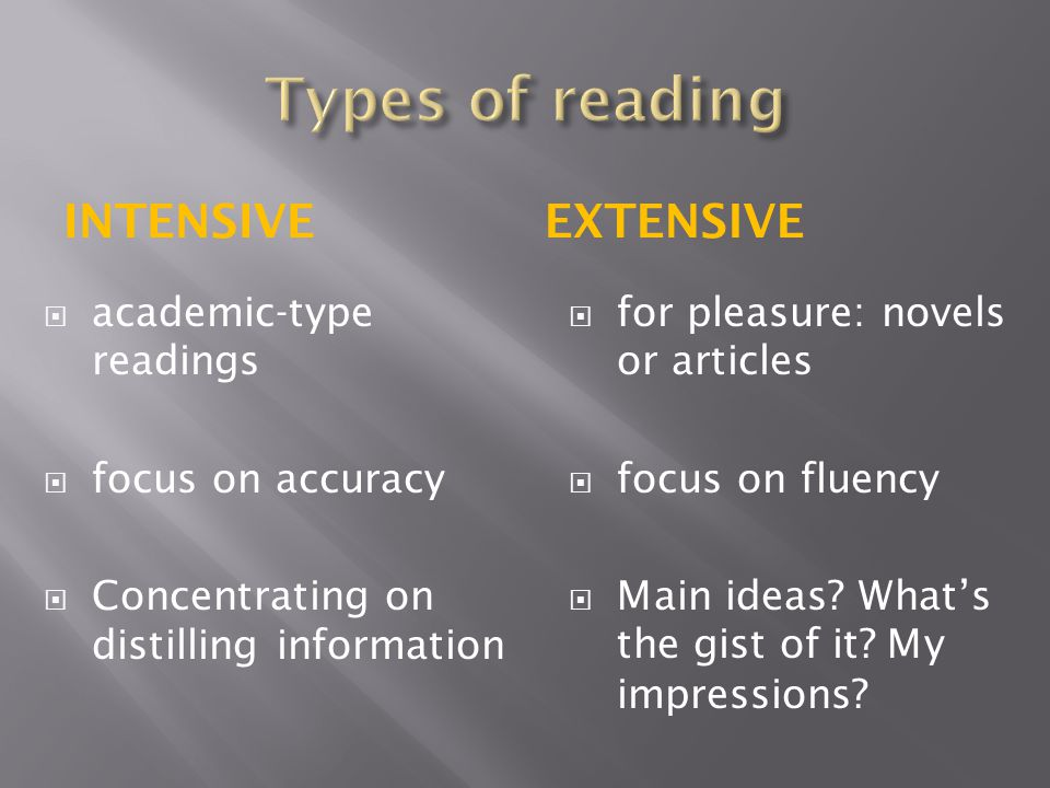 Types of reading Intensive Extensive academic-type readings