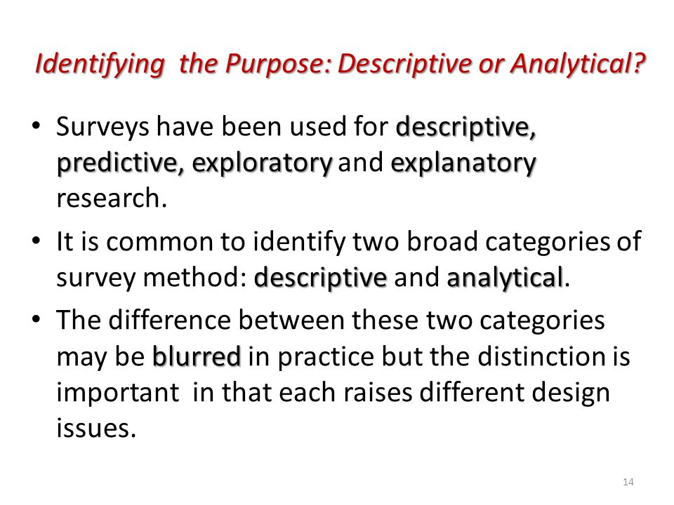 Identifying the Purpose: Descriptive or Analytical