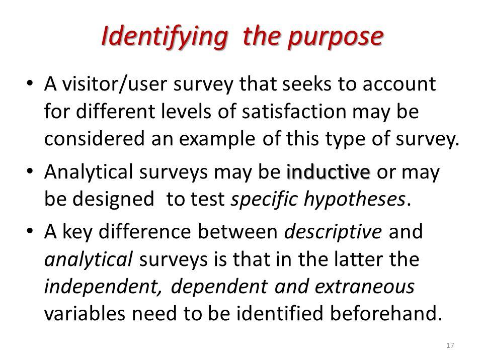 Identifying the purpose