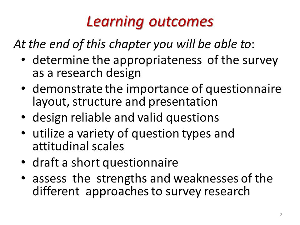 Learning outcomes At the end of this chapter you will be able to: