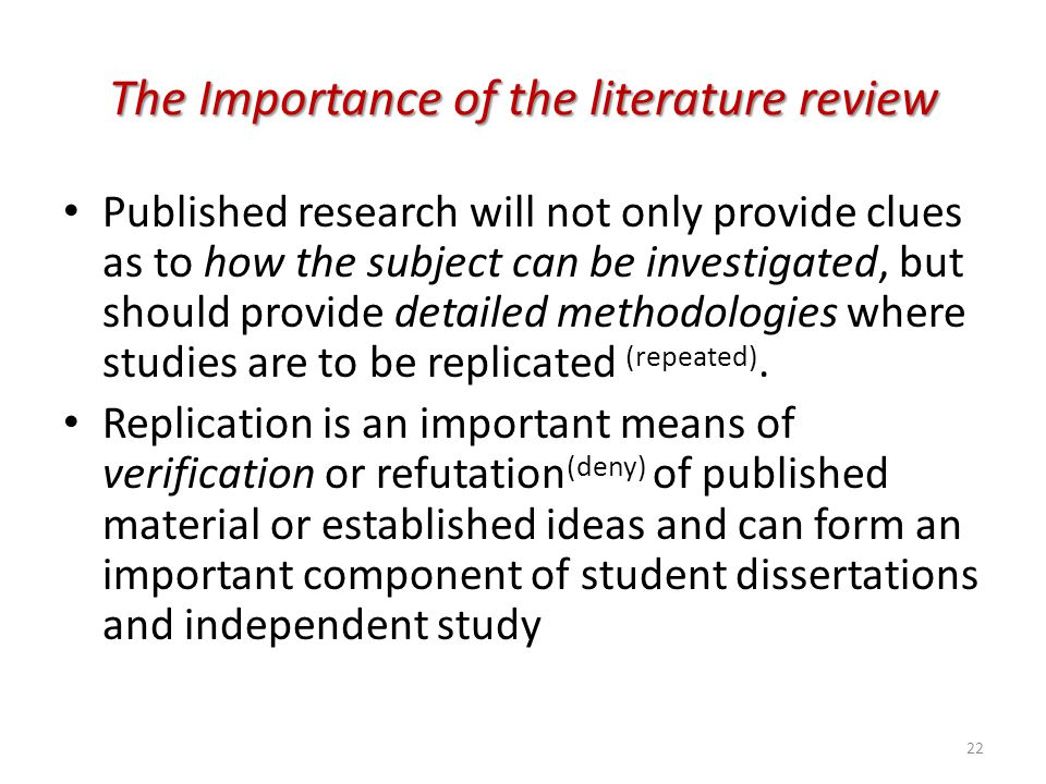 The Importance of the literature review