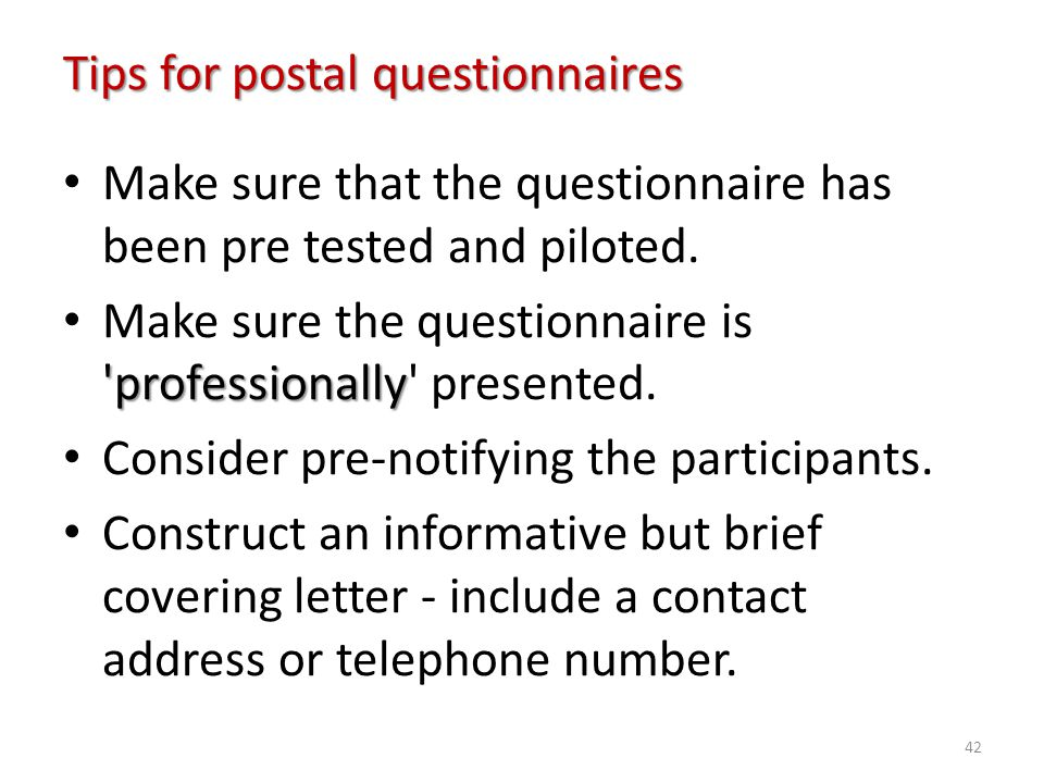 Tips for postal questionnaires