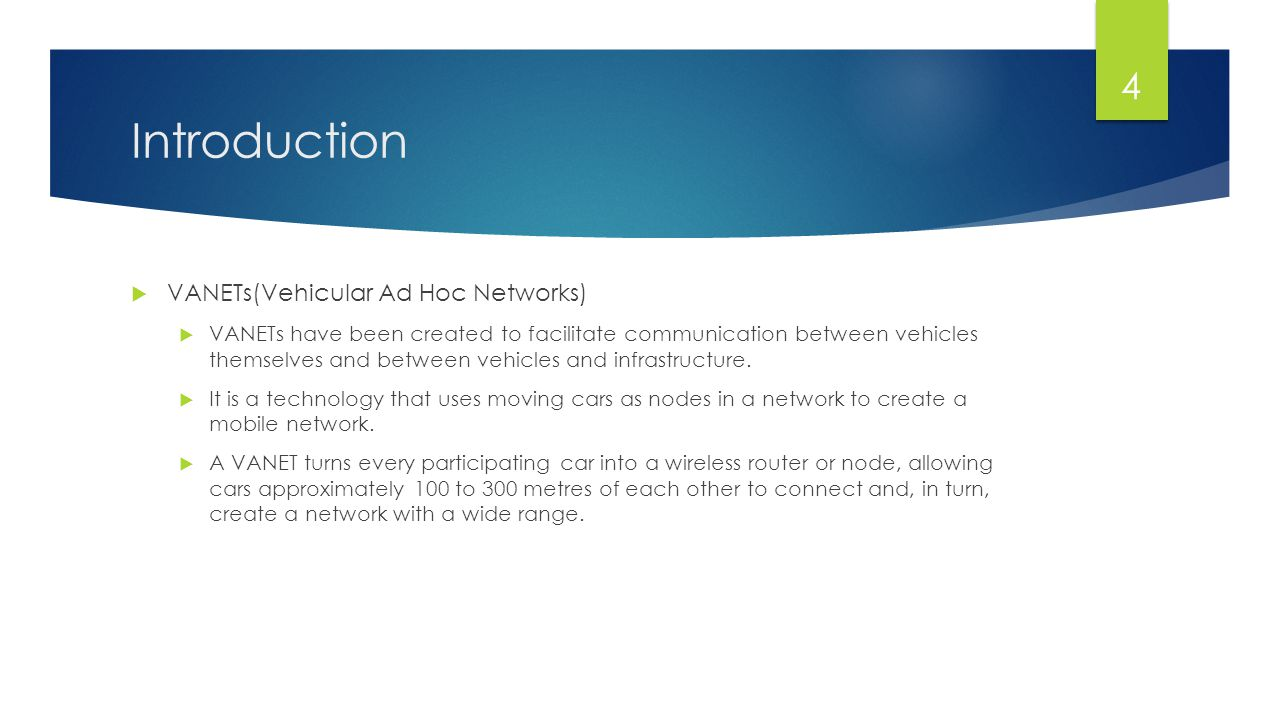 Introduction VANETs(Vehicular Ad Hoc Networks)