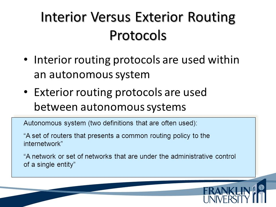 Interior Versus Exterior Routing Protocols
