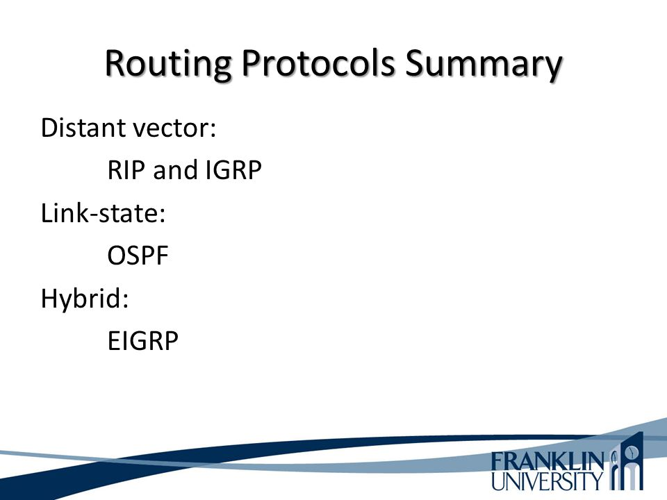 Routing Protocols Summary