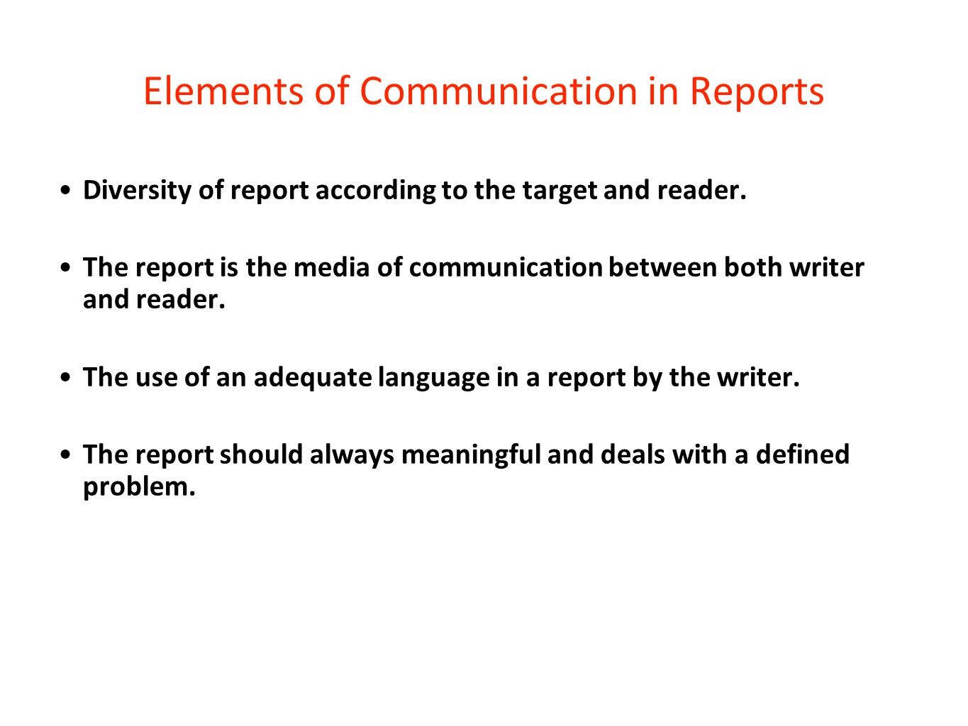 Elements of Communication in Reports