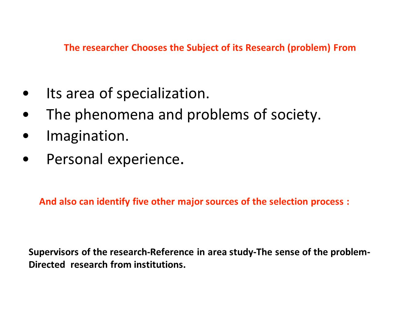 The researcher Chooses the Subject of its Research (problem) From