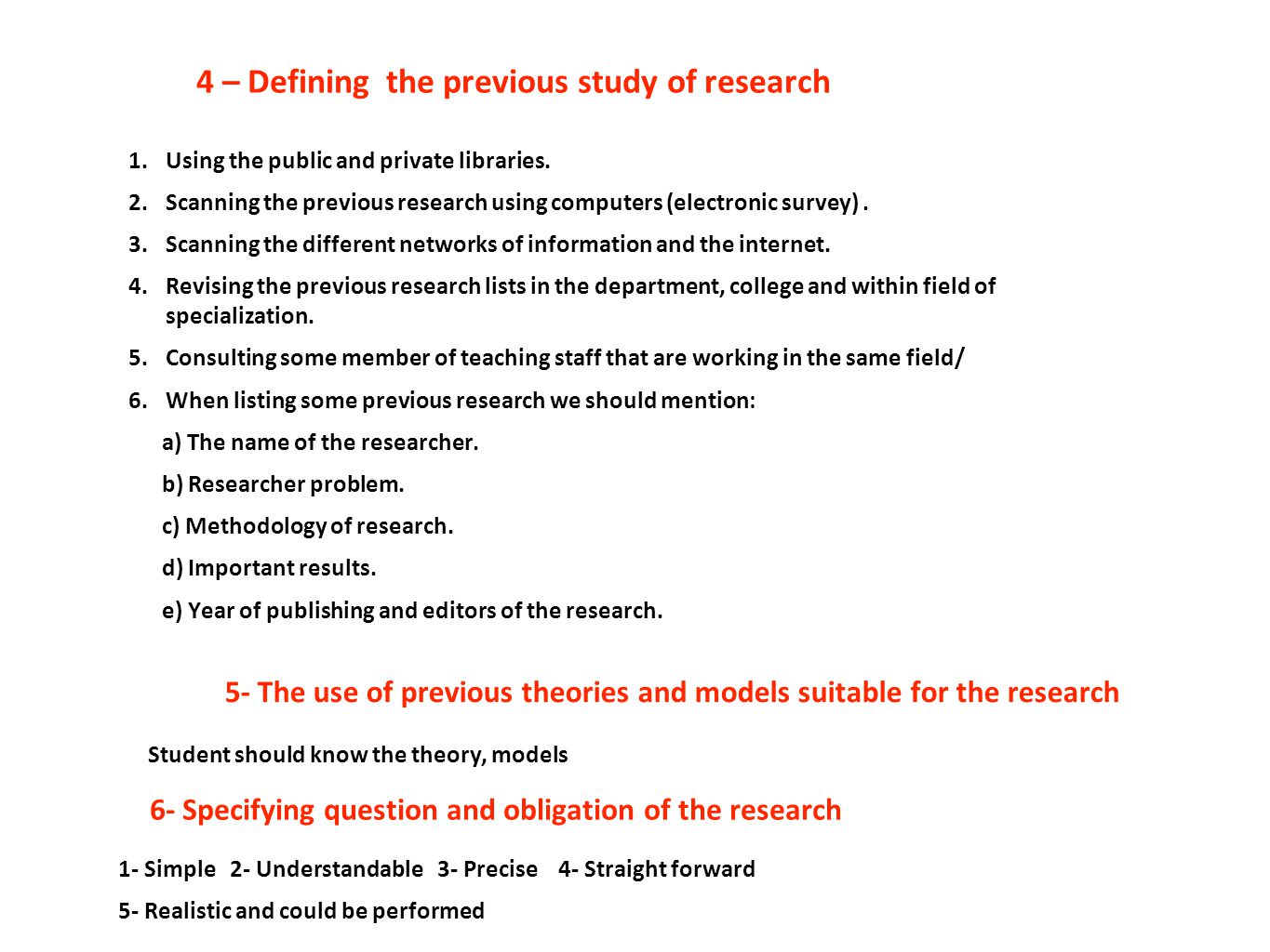 4 – Defining the previous study of research