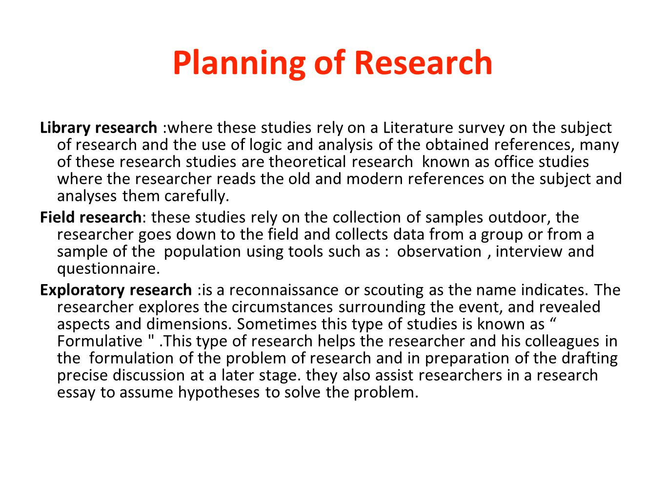 Planning of Research