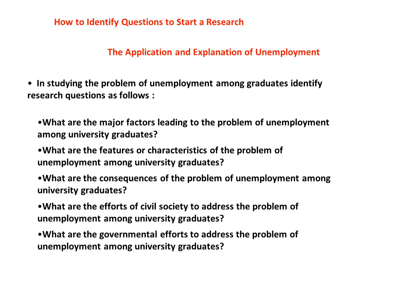 The Application and Explanation of Unemployment