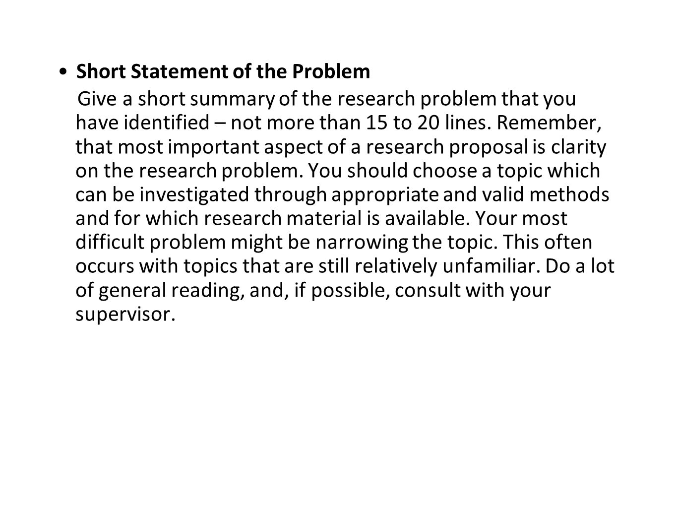 Short Statement of the Problem