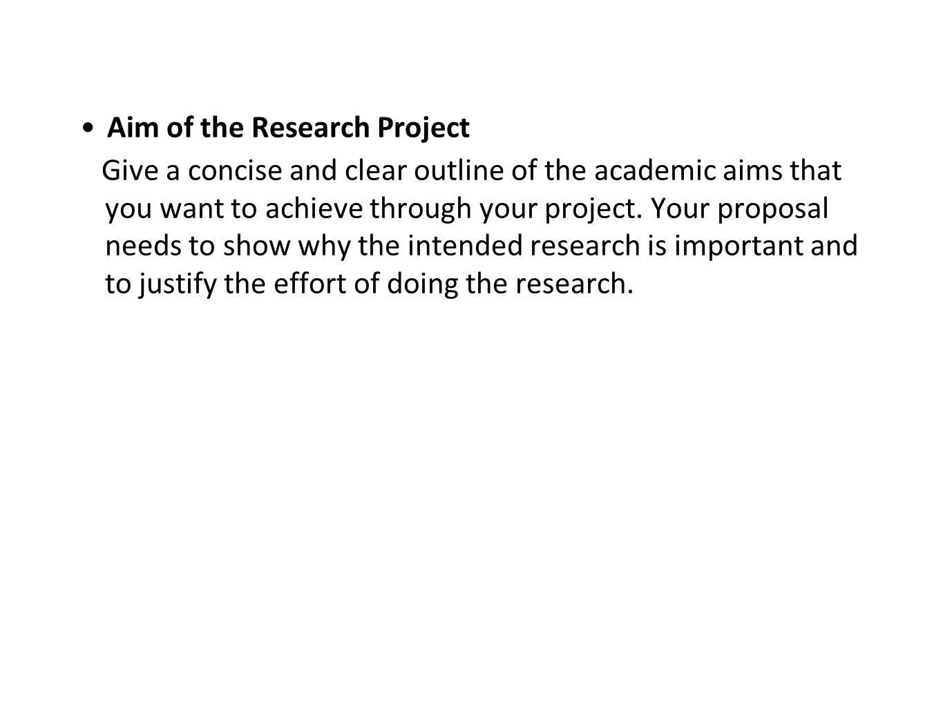 Aim of the Research Project