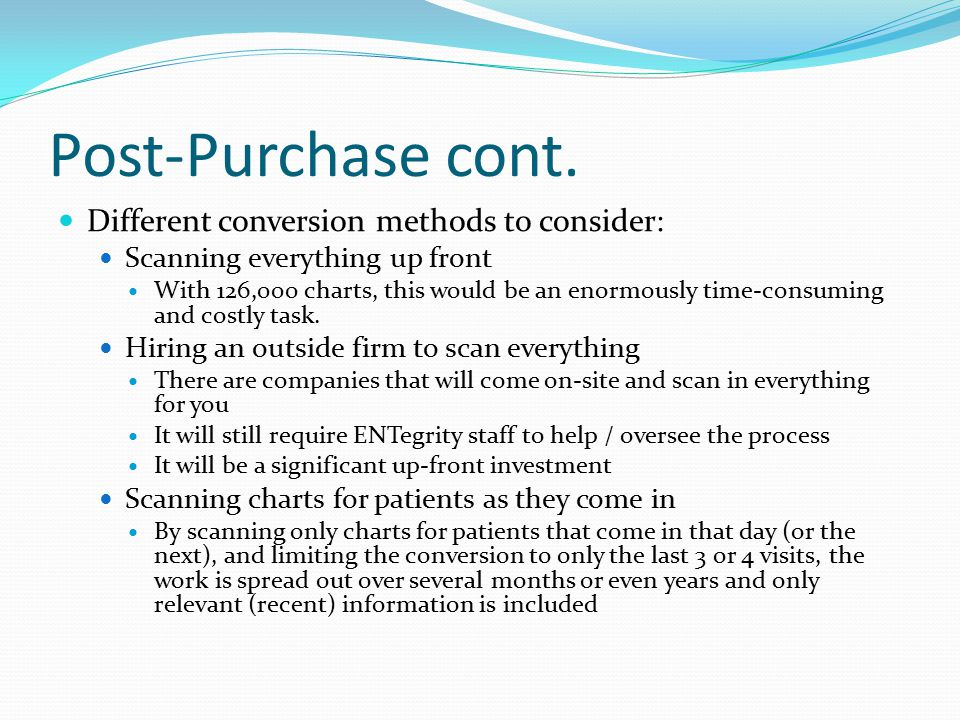 Post-Purchase cont. Different conversion methods to consider: