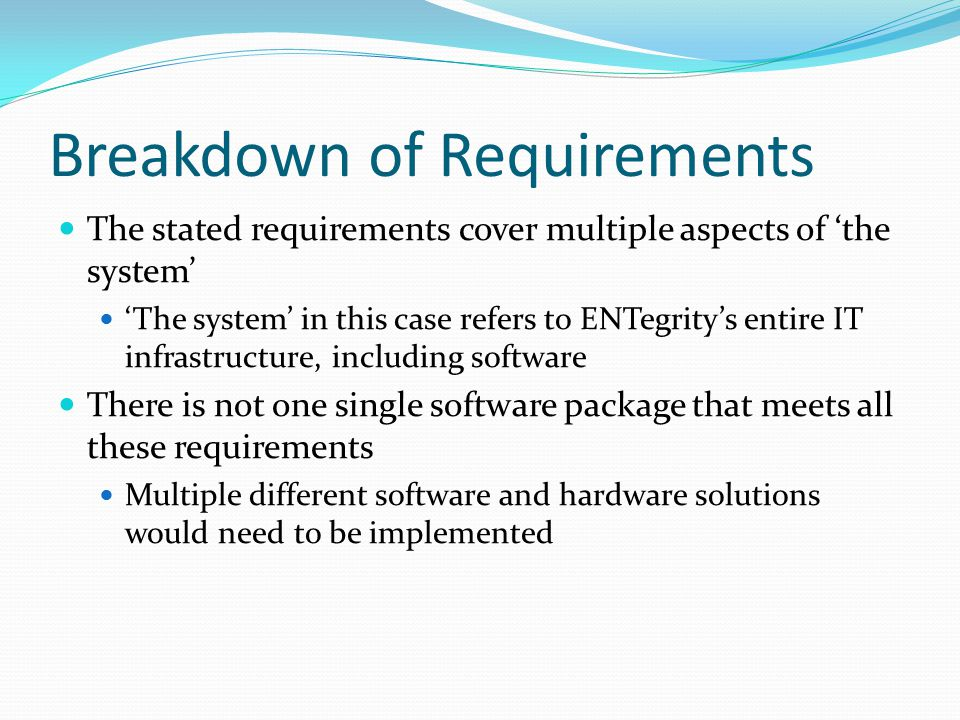 Breakdown of Requirements