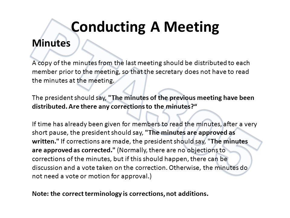 Conducting A Meeting Minutes