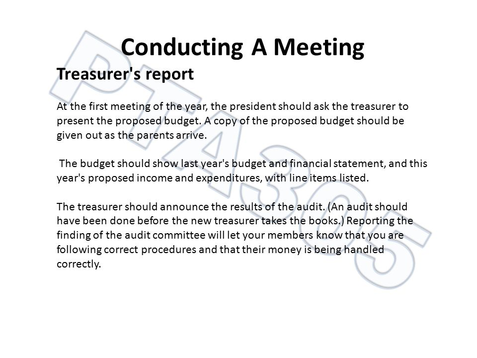 Conducting A Meeting Treasurer s report