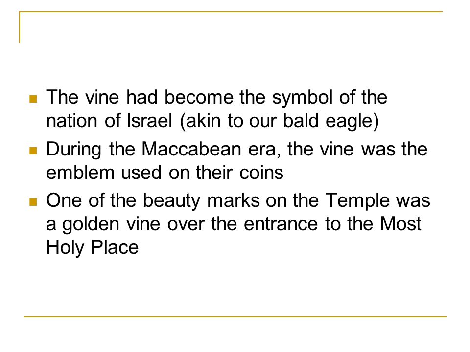 The vine had become the symbol of the nation of Israel (akin to our bald eagle)