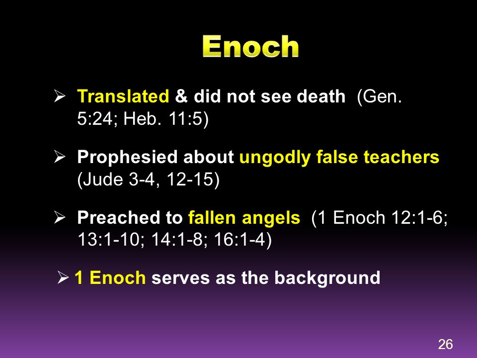 Enoch Translated & did not see death (Gen. 5:24; Heb. 11:5)
