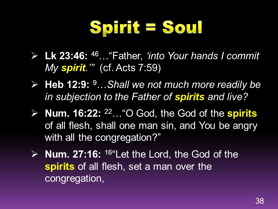 Spirit = Soul Lk 23:46: 46… Father, 'into Your hands I commit My spirit.' (cf. Acts 7:59)