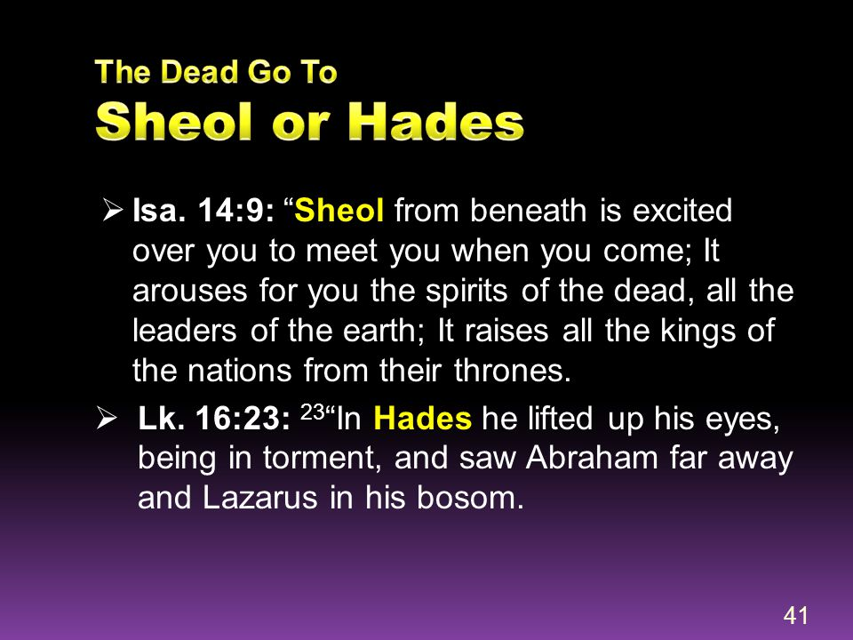 The Dead Go To Sheol or Hades