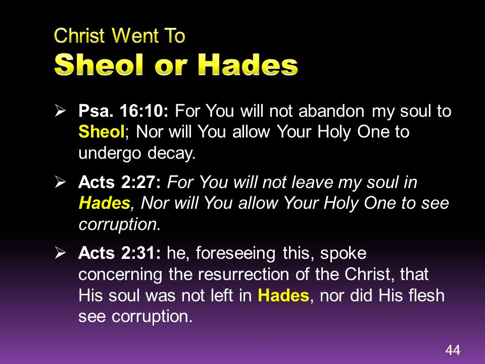 Christ Went To Sheol or Hades