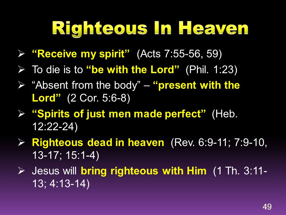 Righteous In Heaven Receive my spirit (Acts 7:55-56, 59)