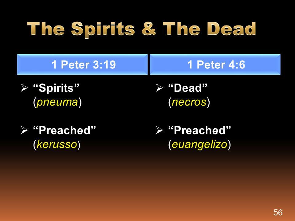 The Spirits & The Dead 1 Peter 3:19 1 Peter 4:6 Spirits (pneuma)