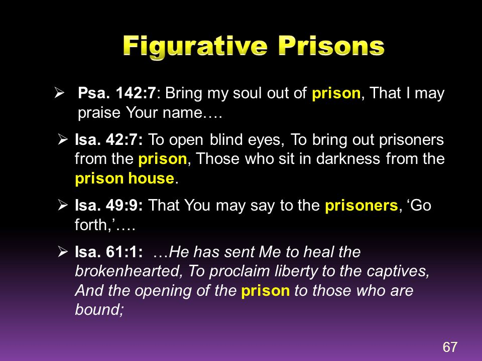 Figurative Prisons Psa. 142:7: Bring my soul out of prison, That I may praise Your name….