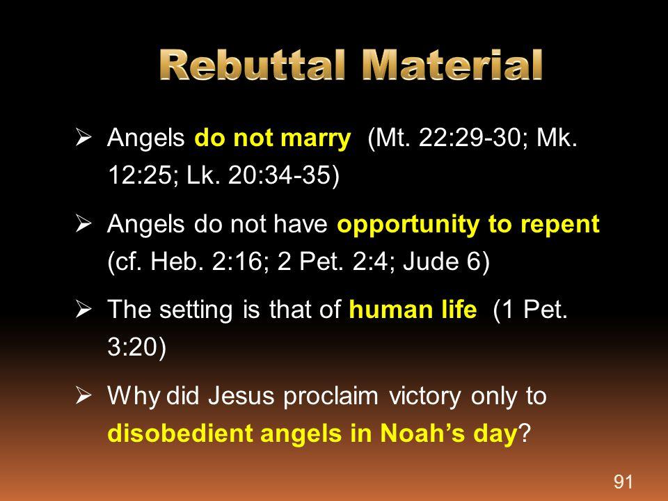Rebuttal Material Angels do not marry (Mt. 22:29-30; Mk. 12:25; Lk. 20:34-35)
