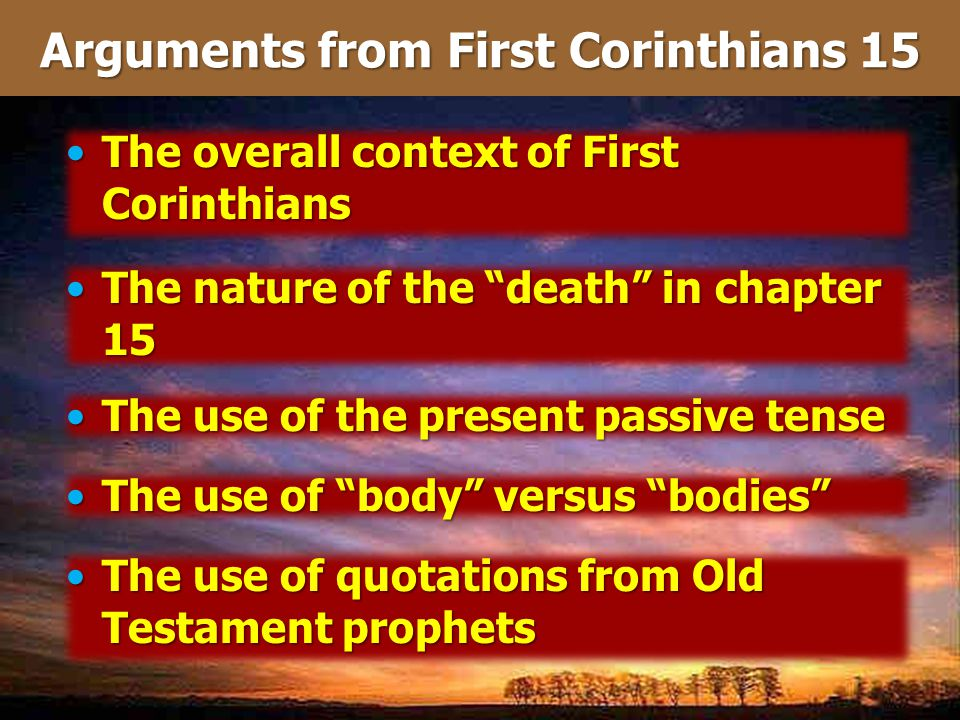 Arguments from First Corinthians 15