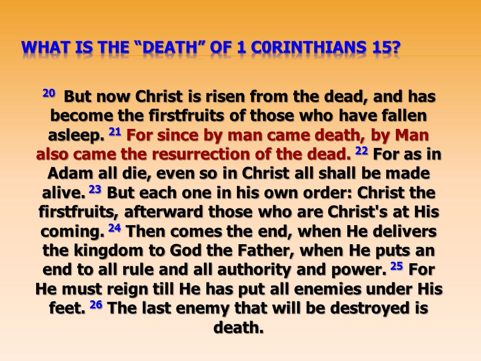What Is the death of 1 C0rinthians 15